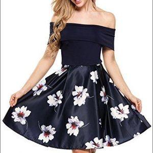 Off the shoulder black floral formal dress